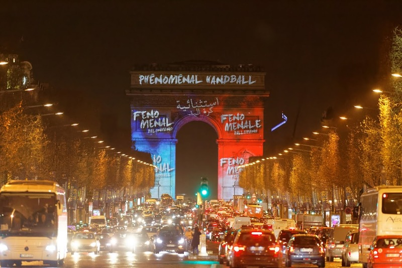Projection du Mondial de Handball sur l'Arc de Triomphe